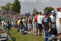 Being to a spot early was needed for people without grandstand tickets