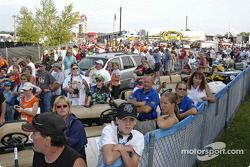 People waited for Tony Stewart to leave the media center
