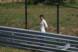 Felipe Massa waits, trackside