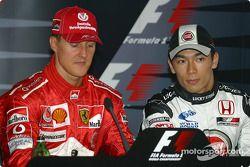 basın toplantısı: Pole: Kazanan Michael Schumacher ve Takuma Sato
