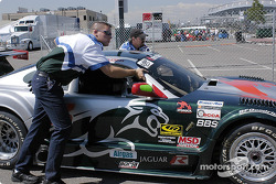 Rocketsports Racing crew member push the #3 car