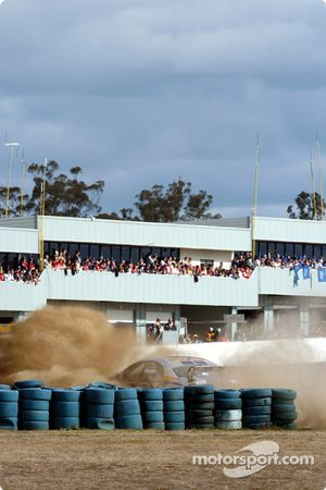 Mark Winterbottom into the tyre wall