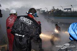 Up in smoke fire stops the #4 Howard-Boss