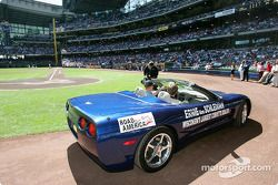 Johnny O'Connell at a Major League Baseball game in Milwaukee, between the Milwaukee Brewers and Chi