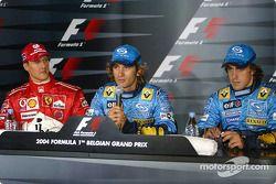 Пресс-конференция: Михаэль Шумахер, Ferrari, второе место, Ярно Трулли, Renault, обладатель поула, Фернандо Алонсо, Renault, третье место