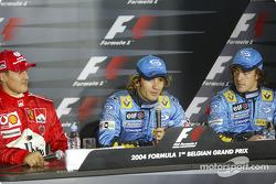 Conferencia de prensa: Ganador de la pole Jarno Trulli con Michael Schumacher y Fernando Alonso