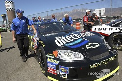 Brian Vickers team pushes the Ditech Chevy into tech inspection