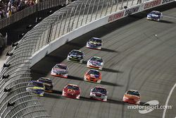 Four-wide on the frontstretch