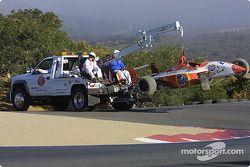 La voiture endommagée d'Andrew Ranger