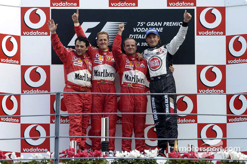 2004: 1. Rubens Barrichello, 2. Michael Schumacher, 3. Jenson Button