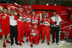 Victory celebrations at team Ferrari