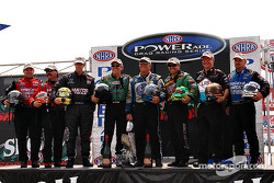The Skoal Showdown qualifiers: Del Worsham, Gary Scelzi, Whit Bazemore, John Force, Gary Densham, Tony Pedregon, Tim Wilkerson and Phil Burkart