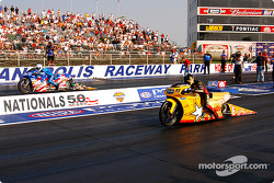 Pro Stock Motorcycle final: Shawn Gann and Antron Brown