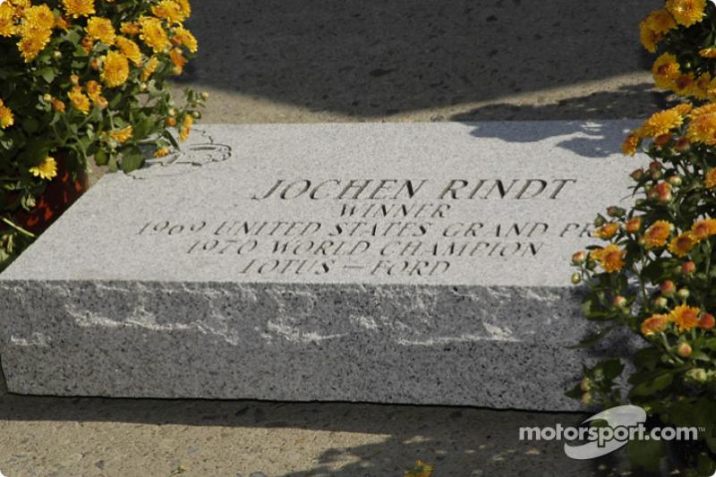 Rindt tiene su nombre grabado en mármol en el 'Paseo de la Fama' del circuito de Watkins Glen, el escenario de su primera victoria en la F1