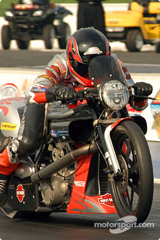Andrew Hines had the best time in Pro Stock Bike