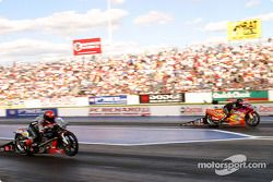 Pro Stock Bike final with Andrew Hines and Craig Treble