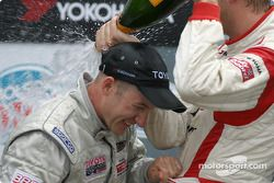 Podium: champagne for Jon Fogarty