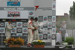 Podium: champagne for Jon Fogarty, Ryan Dalziel and Alex Figge