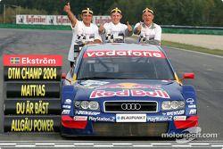 Race winner and DTM 2004 champion Mattias Ekström celebrates with his team