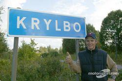 Mattias Ekström at the sign of his home village