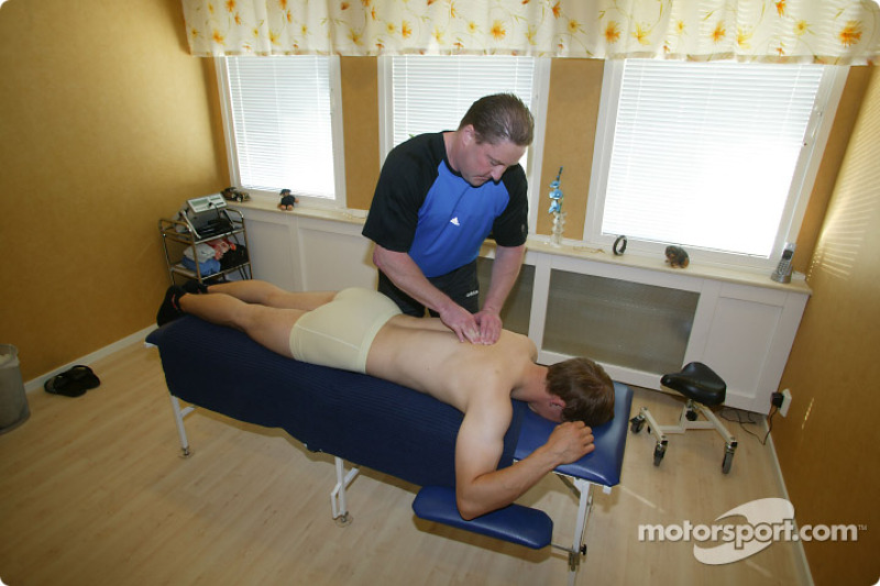 Mattias Ekström during a massage