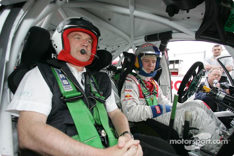 Mattias Ekström with Head of Audi Motorsport Dr Wolfgang Ullrich in the Skoda Fabia WRC