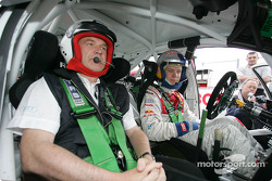 Mattias Ekström with Head of Audi Motorsport Dr Wolfgang Ullrich in the Skoda Fabia WRC