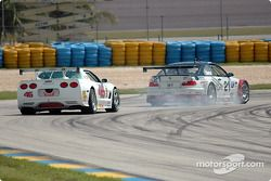 La BMW M3 n°21 Prototype Technology Group : Bill Auberlen, Justin Marks, et la Corvette n°46 Michael Baughman Racing : Mike Yeakle, Michael Baughman