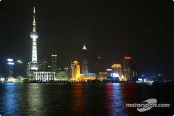 spectacular Shanghai skyline, night
