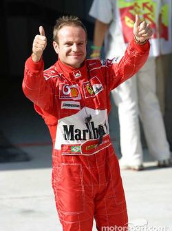 Rubens Barrichello kutlama yapıyor Pole: