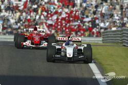 Jenson Button celebrates second place finish