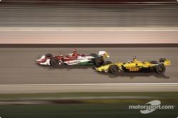 RuSport teamates A.J. Allmendinger and Michel Jorudain Jr. dice it up under the lights