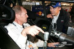 Mattias Ekström explains his Audi A4 DTM to 4-time World Rally Champion Juha Kankkunen