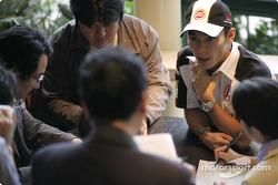Takuma Sato meets local media