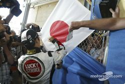Takuma Sato logos a Japanese flag