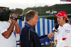 TV interview for Jarno Trulli