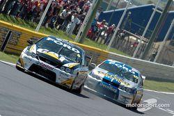 Craig Lowndes and Jason Bargwanna on pit straight