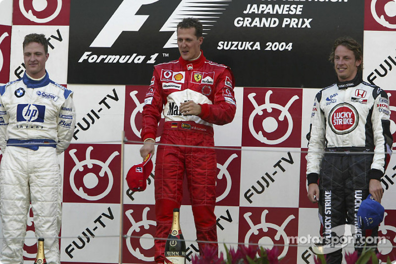 2004: 1. Michael Schumacher, 2. Ralf Schumacher, 3. Jenson Button