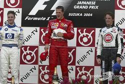 Podio: ganador de la carrera Michael Schumacher, segundo lugar Ralf Schumacher y tercer lugar Jenson