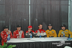 Press conference: race winners Butch Leitzinger and Elliott Forbes-Robinson, with Scott Pruett and Max Papis, and Max Angelelli and Wayne Taylor