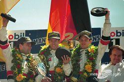 Podium: race winners Davy Jones, Alexander Wurz and Manuel Reuter