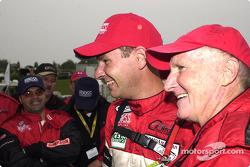 Race winners Butch Leitzinger and Elliott Forbes-Robinson celebrate