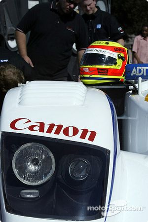 The Sixth Annual Mini Le Mans of San Jose: ADT Champion Racing Audi and helmet of driver Pierre Kaffer