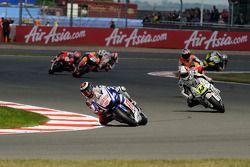 Jorge Lorenzo, Fiat Yamaha Team leads Randy De Puniet, LCR Honda MotoGP