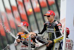 Podium: race winner Jorge Lorenzo, Fiat Yamaha Team, second place Andrea Dovizioso, Repsol Honda Tea