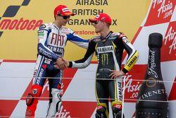 Podium: race winnaar Jorge Lorenzo, Fiat Yamaha Team, 3de Ben Spies, Monster Yamaha Tech 3