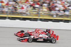 Helio Castroneves, Team Penske and Dario Franchitti, Target Chip Ganassi Racing