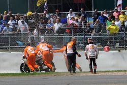 Marco Melandri, San Carlo Honda Gresini crashes on the first lap