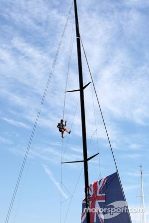 A man on the sailing of the Team New Zealand boat