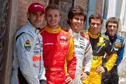 2010 GP2 Series race winners Jerome D'Ambrosio, Sergio Perez, Pastor Maldonado, Dani Clos and Fabi